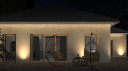 Podbitka dachowa i elewacja domu – 6 sposobów na oświetlenie